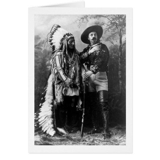 Principal sentada Bull y Buffalo Bill 1895 Tarjeton