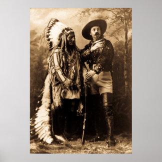Principal sentada Bull y Buffalo Bill Póster
