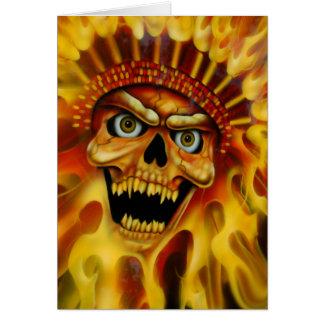 Principal tarjeta de cumpleaños del cráneo llamean