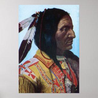 Principal tribu hueco de Lakota del oso del cuerno Poster