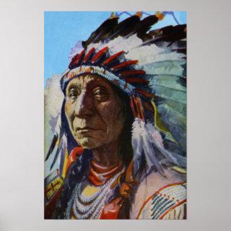 Principal tribu roja de Oglala Lakota Siux de la n Póster