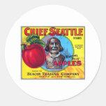 Principales manzanas de Seattle Pegatina Redonda