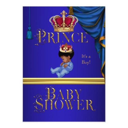 """Príncipe azul Crown 2 del muchacho elegante de la Invitación 5"""" X 7"""""""