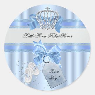 Príncipe azul Crown 3a del muchacho de la fiesta Pegatina Redonda