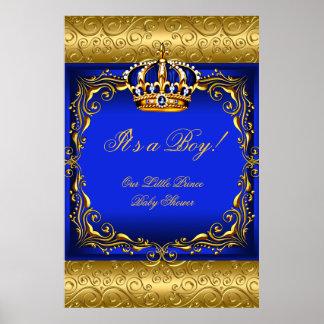 Príncipe azul Crown del muchacho de la fiesta de Póster