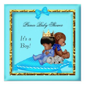 Príncipe azul del muchacho del oro de la fiesta de invitación 13,3 cm x 13,3cm