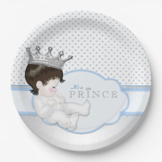 Príncipe azul y de plata fiesta de bienvenida al platos de papel