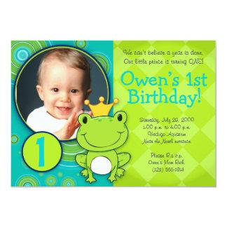"""Príncipe Birthday de la rana Invitación 5"""" X 7"""""""