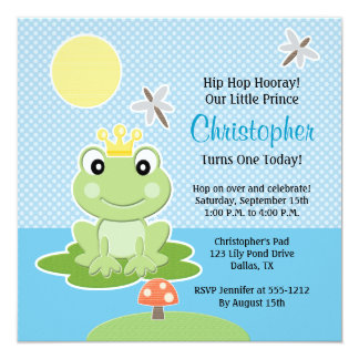 """Príncipe Birthday Invitations de la rana de verde Invitación 5.25"""" X 5.25"""""""