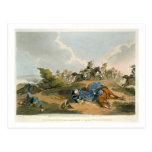 Príncipe Blucher debajo de su caballo en la batall Tarjetas Postales