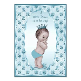 Príncipe Boy y fiesta de bienvenida al bebé azul Invitación 12,7 X 17,8 Cm