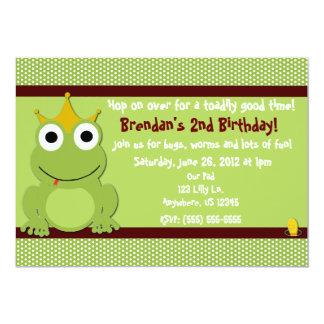 """Príncipe Boys Birthday Invitation de la rana Invitación 5"""" X 7"""""""