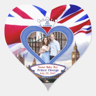Príncipe británico real George del bebé Pegatina En Forma De Corazón