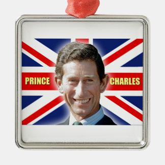 ¡Príncipe Charles de HRH - patriótico! Adorno Navideño Cuadrado De Metal