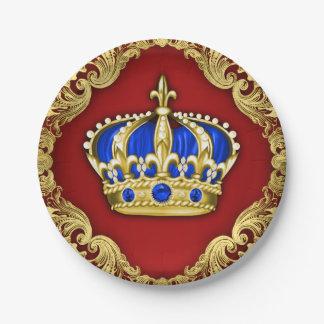 Príncipe Crown Red Blue príncipe fiesta de Plato De Papel De 7 Pulgadas