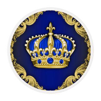 Príncipe Cupcake del azul real y del oro Láminas De Glaseado Redondas