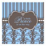 Príncipe Damask y fiesta de bienvenida al bebé neg Invitación