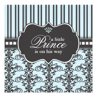Príncipe Damask y fiesta de bienvenida al bebé neg Invitacion Personalizada