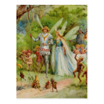 Príncipe de hadas y Thumbelina en la madera mágica Postal