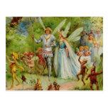 Príncipe de hadas y Thumbelina en la madera mágica Tarjetas Postales