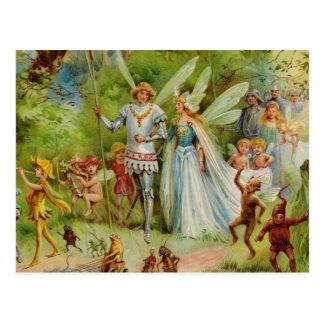 Príncipe de hadas y Thumbelina en la madera mágica Tarjeta Postal