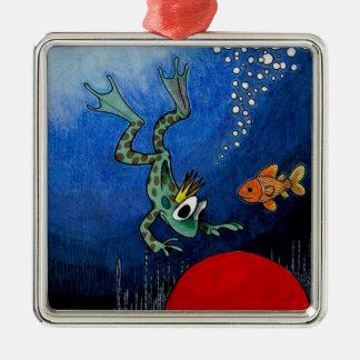 Príncipe de la rana adorno navideño cuadrado de metal