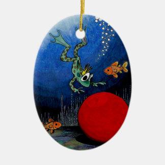 Príncipe de la rana adorno navideño ovalado de cerámica