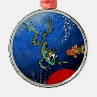 Príncipe de la rana adorno navideño redondo de metal