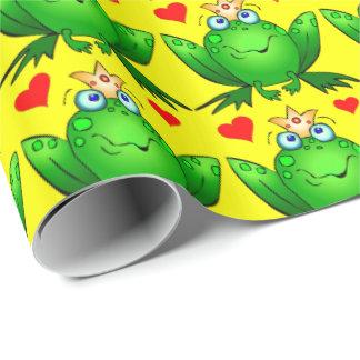 Príncipe de la rana con amarillo alegre del dibujo papel de regalo