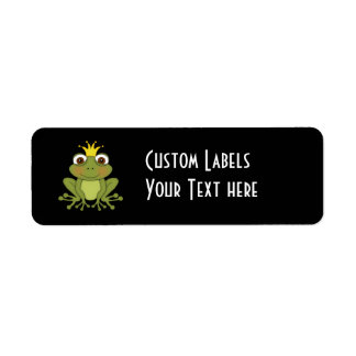 Príncipe de la rana del cuento de hadas con la cor etiqueta de remite