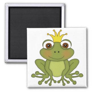 Príncipe de la rana del cuento de hadas con la cor imán cuadrado