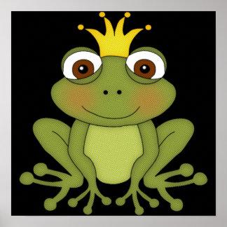 Príncipe de la rana del cuento de hadas con la cor posters