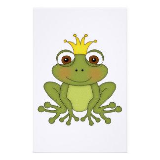 Príncipe de la rana del cuento de hadas con la cor  papeleria de diseño