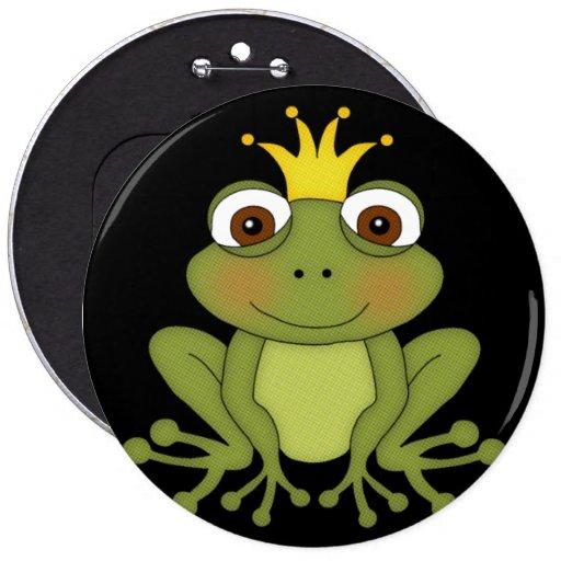 Príncipe de la rana del cuento de hadas con la cor pin redondo 15 cm