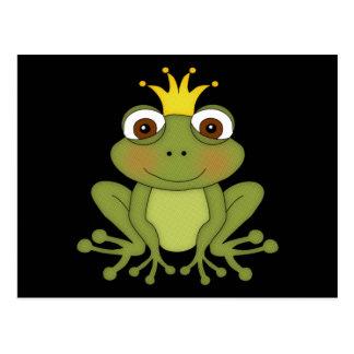 Príncipe de la rana del cuento de hadas con la cor tarjetas postales