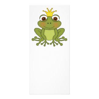 Príncipe de la rana del cuento de hadas con la cor tarjeta publicitaria