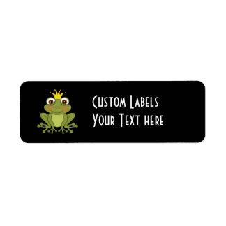 Príncipe de la rana del cuento de hadas con la etiqueta de remitente