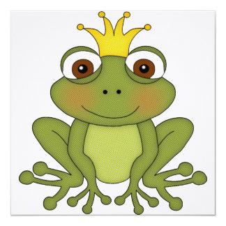 """Príncipe de la rana del cuento de hadas con la invitación 5.25"""" x 5.25"""""""