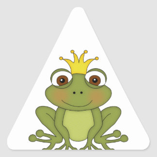 Príncipe de la rana del cuento de hadas con la calcomanías trianguloes personalizadas