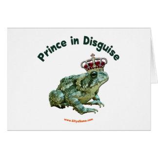 Príncipe de la rana del sapo en disfraz tarjeta pequeña