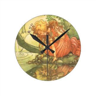 Príncipe de la rana del vintage Princesa y su ref Reloj De Pared