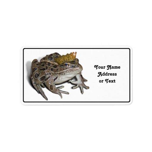 Príncipe de la rana etiqueta de dirección