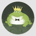 Príncipe de la rana pegatina redonda