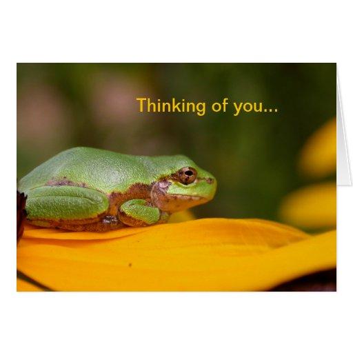 Príncipe de la rana, pensando en usted… tarjeta de felicitación