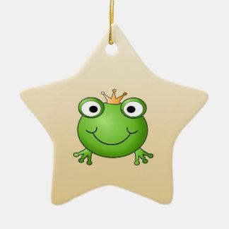 Príncipe de la rana. Rana sonriente con una corona Adorno Navideño De Cerámica En Forma De Estrella