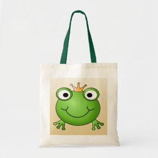 Príncipe de la rana. Rana sonriente con una corona Bolsa Tela Barata
