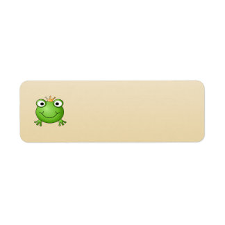 Príncipe de la rana. Rana sonriente con una corona Etiquetas De Remite
