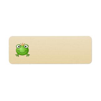 Príncipe de la rana. Rana sonriente con una corona Etiqueta De Remite