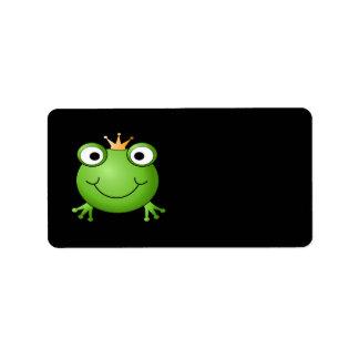 Príncipe de la rana. Rana sonriente con una corona Etiquetas De Dirección