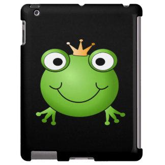 Príncipe de la rana. Rana sonriente con una corona Funda Para iPad